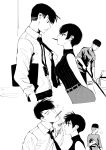 1girl 2boys 2koma arm_behind_back bare_shoulders comic commentary english_commentary food food_in_mouth height_difference hetero highres janitor lanyard leaning_forward looking_at_another mouth_hold multiple_boys necktie necktie_grab neckwear_grab norman_maggot ol-chan_(norman_maggot) original pocky pocky_day pocky_kiss ribbed_sweater shared_food short_hair sleeveless sleeveless_turtleneck sweatdrop sweater turtleneck