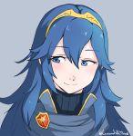 1girl armor blue_eyes blue_hair blush cape fire_emblem fire_emblem:_kakusei gloves grimmelsdathird highres long_hair looking_at_viewer lucina nintendo simple_background smile solo tiara