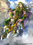 1boy armor brick_wall castle commentary_request dragon dragon_riding fire_emblem fire_emblem:_seisen_no_keifu fire_emblem_cipher greaves green_armor green_footwear green_hair grey_pants hand_on_hip holding holding_spear holding_weapon long_hair male_focus muscle nintendo official_art pants pauldrons polearm scales shoulder_armor sidelocks smirk smug spear standing trabant_(fire_emblem) wall weapon wyvern yellow_eyes yoneko_okome99
