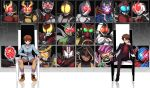 6+boys brown_hair card chin_rest glowing glowing_eyes highres hood kadoya_tsukasa kamen_rider kamen_rider_555 kamen_rider_agito kamen_rider_agito_(series) kamen_rider_blade kamen_rider_blade_(series) kamen_rider_build kamen_rider_build_(series) kamen_rider_dcd kamen_rider_den-o kamen_rider_den-o_(series) kamen_rider_double kamen_rider_drive kamen_rider_drive_(series) kamen_rider_ex-aid kamen_rider_ex-aid_(series) kamen_rider_faiz kamen_rider_fourze kamen_rider_fourze_(series) kamen_rider_gaim kamen_rider_gaim_(series) kamen_rider_ghost kamen_rider_ghost_(series) kamen_rider_hibiki kamen_rider_hibiki_(series) kamen_rider_kabuto kamen_rider_kabuto_(series) kamen_rider_kiva kamen_rider_kiva_(series) kamen_rider_kuuga kamen_rider_kuuga_(series) kamen_rider_ooo kamen_rider_ooo_(series) kamen_rider_ryuki kamen_rider_ryuki_(series) kamen_rider_w kamen_rider_wizard kamen_rider_wizard_(series) kamen_rider_zi-o_(series) legs_crossed pink_eyes pointing pointing_at_self pointing_up pose reaching_out scarf sitting smile throne thumbs_up tokiwa_sougo yoshino_(gunform)
