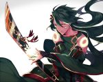 1boy black_hair creatures_(company) detached_sleeves game_freak gen_3_pokemon hair_between_eyes holding holding_sword holding_weapon long_hair looking_to_the_side male_focus nintendo personification pokemon rayquaza red_eyes solo standing sword very_long_hair weapon white_background wide_sleeves zazaki