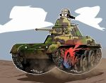 1girl black_eyes black_hair braid caterpillar_tracks clouds day doden_3-shiki fukuda_(girls_und_panzer) girls_und_panzer glasses ground_vehicle imperial_japanese_army military military_vehicle motor_vehicle tank twin_braids twintails type_95_ha-gou
