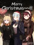 3girls :d absurdres animal_ears artist_name bag bangs black_gloves black_pants black_shirt blonde_hair blue_coat blue_eyes blue_skirt blunt_bangs blush brown_coat brown_scarf christmas closed_mouth coat commentary_request cowboy_shot eyebrows_visible_through_hair fang fur_trim g41_(girls_frontline) garin girls_frontline gloves green_eyes hair_between_eyes hand_in_pocket hand_up hat heart heart_balloon height_difference heterochromia highres hk416_(girls_frontline) holding holding_bag holding_balloon long_coat long_hair long_skirt long_sleeves looking_at_viewer merry_christmas multiple_girls night open_clothes open_coat open_mouth pants purple_hair red_eyes red_hat santa_hat scarf shirt shirt_tucked_in shoulder_bag side-by-side sidelocks skirt smile snowing standing turtleneck very_long_hair wa2000_(girls_frontline) white_gloves white_hair white_shirt winter winter_clothes