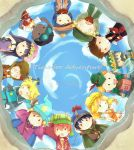 1girl 6+boys black_hair blonde_hair brothers brown_hair cape carine clyde_donovan coat craig_tucker dark_skin dougie_o'connell dress eric_cartman fur_hat gloves green_eyes hat helmet highres holding holding_staff ike_broflovski kenny_mccormick kyle_broflovski leopold_stotch long_hair male_focus multiple_boys orange_hair redhead short_hair siblings smile south_park south_park:_the_stick_of_truth staff stan_marsh tiara timmy_burch trap tweek_tweak ushanka wendy_testaburger wheelchair witch_hat