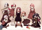 6+girls :d :o ahoge akabane_youko apple armchair bangs birdcage black_dress black_footwear black_legwear blush book book_stack boots bow breasts brown_bow brown_dress brown_footwear brown_hair brown_legwear brown_skirt cage center_frills chair character_request closed_eyes closed_mouth copyright_name curled_horns demon_girl demon_horns demon_wings dress eyebrows_visible_through_hair facing_viewer flower flying food frills fruit gradient_hair green_eyes hair_between_eyes hair_bow hair_flower hair_ornament head_tilt high-waist_skirt high_heel_boots high_heels holding holding_food holding_fruit honma_himawari horns kneeling long_hair looking_at_viewer makaino_ririmu medium_breasts multicolored_hair multiple_girls nijisanji on_chair one_side_up open_mouth over-kneehighs parted_lips picture_frame pink_hair pleated_skirt purple_hair red_apple red_eyes red_wings redhead shiina_yuika shirt silver_hair sitting skirt smile standing sunflower_hair_ornament thigh-highs twintails two-tone_hair very_long_hair violet_eyes virtual_youtuber white_shirt wings yamabukiiro yamiyono_moruru yellow_flower