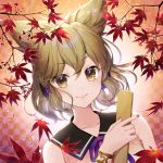 1girl autumn_leaves bracer checkered checkered_background collarbone earmuffs highres leaf light_brown_hair looking_at_viewer maple_leaf momoshiki_tsubaki nail_polish neck_ribbon parted_lips pointy_hair purple_ribbon ribbon ritual_baton short_hair sleeveless smile solo touhou toyosatomimi_no_miko upper_body yellow_eyes