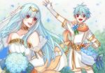 1boy 1girl aqua_hair bare_shoulders blue_hair bouquet bridal_veil bride cape circlet dress elbow_gloves faithoala fire_emblem fire_emblem:_rekka_no_ken fire_emblem_heroes flower gloves hair_ornament jewelry long_hair mamkute necklace nils ninian nintendo open_mouth red_eyes scarf short_hair simple_background smile strapless strapless_dress tiara veil wedding wedding_dress white_dress