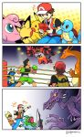 3boy 5+others alien charizard creatures_(company) emcee game_freak gen_1_pokemon gen_2_pokemon gen_4_pokemon highres incineroar ivysaur jigglypuff little_mac lucario lucas nintendo pichu pikachu red_(pokemon) red_(pokemon_frlg) ridley sora_(company) squirtle super_smash_bros. super_smash_bros._ultimate