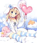 1girl :o angel_wings animal_hood bangs between_legs blonde_hair blue_bow blue_choker blue_eyes bow breasts bunny_hood choker circle_name cleavage clouds collarbone commentary_request hand_between_legs heart_balloon holding_balloon hood hood_up hooded_jacket jacket long_hair long_sleeves looking_at_viewer no_shoes original pan_(mimi) rabbit sitting sitting_on_cloud solo star striped striped_bow striped_legwear ten-chan_(pan_(mimi)) thigh-highs white_jacket white_wings wings