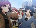 4girls bangs black_hoodie black_legwear black_neckwear black_skirt blue_coat blue_hair brown_coat brown_eyes brown_hair building clothes_writing coat day fence fur-trimmed_coat fur_trim highres hood hood_down icehotmilktea kazuno_leah kunikida_hanamaru kurosawa_ruby long_hair long_sleeves looking_at_another love_live! love_live!_sunshine!! multiple_girls neck_ribbon open_mouth outdoors purple_hair redhead ribbed_sweater ribbon side_bun skirt suitcase sweater thigh-highs tokyo_big_sight tsushima_yoshiko twintails two_side_up violet_eyes white_sweater xo