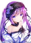1girl bangs bare_shoulders black_hairband closed_mouth commentary_request dress euryale eyebrows_visible_through_hair fate/hollow_ataraxia fate_(series) flower gradient gradient_background grey_background hair_between_eyes hairband highres long_hair looking_at_viewer nanakusa_amane purple_hair rose sidelocks smile solo star strapless strapless_dress twintails upper_body very_long_hair violet_eyes white_background white_dress white_flower white_rose