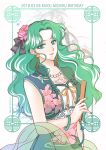 1girl artist_name bangs birthday bishoujo_senshi_sailor_moon black_bow border bow character_name china_dress chinese_clothes closed_mouth dated dress earrings fan floral_print flower folding_fan green_border green_eyes green_hair hair_bow hair_flower hair_ornament jewelry kaiou_michiru koya light_smile long_hair looking_at_viewer parted_bangs solo upper_body wavy_hair