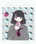 1girl aqua_eyes ascot bangs black_hair border carton collarbone drink drinking drinking_straw english food fruit grey_sailor_collar grey_shirt juice_box long_sleeves looking_at_viewer medium_hair nown321 original red_neckwear sailor_collar shirt signature solo strawberry strawberry_background upper_body white_border