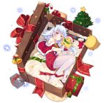 1girl ahoge azur_lane bell blue_hair blush bow box candy candy_cane christmas christmas_tree dango_remi eyebrows_visible_through_hair food full_body gift gift_box heterochromia long_hair looking_at_viewer lying nicholas_(azur_lane) official_art on_side pantyhose parted_lips red_bow red_eyes santa_costume solo thigh-highs transparent_background white_legwear yellow_eyes