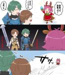 1girl 2boys alm_(fire_emblem) antlers arm_up armor bell boots bow brown_hair brown_mittens cape closed_eyes closed_mouth comic dress fa facial_mark fingerless_gloves fire_emblem fire_emblem:_fuuin_no_tsurugi fire_emblem_echoes:_mou_hitori_no_eiyuuou fire_emblem_heroes forehead_mark fur_trim gloves green_hair grey_(fire_emblem) hksi1pin holding holding_sword holding_weapon long_sleeves mamkute mittens multiple_boys nintendo open_mouth pointy_ears purple_hair reindeer_antlers short_hair sword tiara translation_request weapon