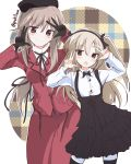 1girl :o bangs beret black_hat black_legwear black_neckwear black_ribbon black_skirt blazer blush_stickers bow bowtie brown_eyes casual collared_shirt commentary contrapposto cowboy_shot double_w dress_shirt eyebrows_visible_through_hair formal getsumen_suibaku_ver._a(c) girls_und_panzer hair_ribbon hat high-waist_skirt high_collar highres jacket layered_skirt leaning_to_the_side light_brown_hair light_frown long_hair long_skirt long_sleeves looking_at_viewer medium_skirt mother_and_daughter neck_ribbon pantyhose pose purple_jacket purple_skirt ribbon shimada_arisu shimada_chiyo shirt side_ponytail skirt skirt_suit smile solo standing star striped striped_legwear suit suspender_skirt suspenders twitter_username v-shaped_eyebrows w white_shirt