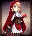 1girl apple black_legwear blonde_hair brown_legwear chestnut_mouth corset cross-laced_clothes elbow_gloves fingerless_gloves food frills fruit gears gloves highres holding holding_food holding_fruit looking_at_viewer mask mask_removed original red_eyes red_gloves red_hood red_robe short_sleeves solo standing thigh-highs tk8d32 wolf_mask