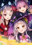 3girls capelet collarbone ghost gold hair_bun hair_ornament hands hat highres hololive horns japanese_clothes konkito long_hair looking_at_viewer low_twintails mask mask_on_head minato_aqua multicolored_hair multiple_girls murasaki_shion nakiri_ayame one_eye_closed open_mouth purple_hair red_eyes ribbon silver_hair simple_background treasure twintails violet_eyes virtual_youtuber witch_hat yellow_eyes