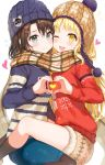 2girls ;d absurdres bang_dream! bangs beanie black_hair black_legwear blonde_hair blue_hat blue_skirt blue_sweater blush breast_press breasts brown_hat brown_scarf brown_skirt closed_mouth commentary eyebrows_visible_through_hair fur_trim grey_eyes hair_ornament hairclip hat heart heart_hands heart_hands_duo highres light_particles long_hair long_sleeves looking_at_viewer miniskirt multiple_girls okusawa_misaki one_eye_closed open_mouth pantyhose pencil_skirt plaid plaid_scarf red_sweater scarf shared_scarf short_hair sidelocks simple_background sitting skirt small_breasts smile sweater symbol_commentary symmetrical_docking tareme tokkyu_(user_mwwe3558) tsurumaki_kokoro upper_teeth white_background winter_clothes yellow_eyes