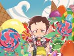 1boy brown_hair candy candy_cane cupcake food freckles gameplay_mechanics green_eyes ice_cream jelly_bean lollipop nojiko_(natumag) scott_malkinson short_hair shoulder_pads solo south_park south_park:_the_fractured_but_whole swirl_lollipop symbol-shaped_pupils