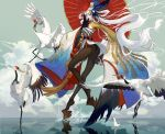 1girl bare_shoulders beak bell bird fan feathers flying hair_ornament headdress highres japanese_clothes kokage_no_shita long_hair onmyoji pantyhose reflection shirt skirt splashing striped striped_shirt swan ubume_(onmyoji) umbrella very_long_hair walking walking_on_liquid water white_hair wings yellow_eyes