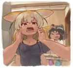 2girls ^_^ alternate_costume animal_ears bangs bathroom bell_(hellchan3) black_hair black_shirt blonde_hair bra_strap brown_eyes brushing_another's_teeth brushing_teeth casual closed_eyes closed_eyes collarbone commentary_request common_raccoon_(kemono_friends) contemporary extra_ears eyebrows_visible_through_hair fang female_pov fennec_(kemono_friends) foreshortening fox_ears grey_hair half-closed_eyes hand_on_another's_cheek hand_on_another's_face hands_up highres holding holding_toothbrush indoors kemono_friends looking_at_another medium_hair mirror multicolored_hair multiple_girls open_mouth pov raccoon_ears reflection shirt short_sleeves sidelocks smile sweat toothbrush upper_body white_shirt