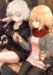2girls ahoge bangs bench black_coat black_dress black_legwear blonde_hair blue_eyes blush braid breasts buttons can closed_mouth coat collarbone commentary_request dress drink eyebrows_visible_through_hair fate/grand_order fate_(series) frown fur-trimmed_coat fur_trim grey_coat hair_between_eyes half-closed_eyes haoni holding holding_can jeanne_d'arc_(alter)_(fate) jeanne_d'arc_(fate) jeanne_d'arc_(fate)_(all) jewelry large_breasts legs_crossed long_hair long_sleeves looking_at_another looking_down multiple_girls necklace open_clothes open_coat pantyhose park_bench red_scarf ribbed_sweater scarf short_hair sidelocks silver_hair single_braid sitting smile sweater sweater_dress v-shaped_eyebrows white_sweater wing_collar yellow_eyes zipper