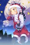 :> blonde_hair braid cis05 fate/grand_order fate_(series) giantess jack_the_ripper_(fate/apocrypha) jeanne_d'arc_(fate)_(all) jeanne_d'arc_alter_santa_lily night nursery_rhyme_(fate/extra) on_head overalls paul_bunyan_(fate/grand_order) pointing pointing_forward sack santa_costume star twin_braids violet_eyes white_hair yellow_eyes