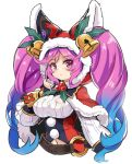1girl bangs bell belt blue_hair blush breasts brown_belt capelet christmas cleo_(dragalia_lost) closed_mouth commentary_request cropped_torso dragalia_lost eyebrows_visible_through_hair fur-trimmed_capelet fur-trimmed_hood fur_trim gradient_hair hand_up hood hood_up hooded_capelet large_breasts long_hair long_sleeves looking_at_viewer multicolored_hair navel o-ring o-ring_belt pink_hair puffy_long_sleeves puffy_sleeves red_capelet red_eyes simple_background solo twintails unname upper_body very_long_hair white_background