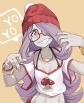 1girl alternate_costume beanie bracelet breasts collarbone commentary_request english eyebrows_visible_through_hair fingernails glasses hair_over_one_eye hat highres jewelry light_smile little_witch_academia long_hair midriff mushroom navel orange_background pants pink_hair popopo raised_eyebrow red-framed_eyewear red_eyes red_hat red_pants sharp_teeth simple_background skinny small_breasts solo speech_bubble sucy_manbavaran tank_top teeth upper_body very_long_hair white_tank_top