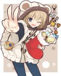 +++ 1girl ;d animal_print bag bangs bear_hood bear_print black_pants black_sweater blonde_hair blue_eyes boko_(girls_und_panzer) candy casual chibi chibi_inset christmas_stocking commentary cookie eyebrows_visible_through_hair fang food foreshortening getsumen_suibaku_ver._a(c) girls_und_panzer handbag highres holding katyusha leaning_forward light_blush long_sleeves looking_at_viewer o_o one_eye_closed open_mouth outside_border pants pravda_school_uniform school_uniform short_hair smile solo standing sweater toggles twitter_username v v-shaped_eyebrows white_coat wide_sleeves