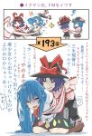 2girls black_hat black_skirt blue_hair boots bow brown_footwear comic commentary_request directional_arrow food frills fruit hat hat_bow hat_ribbon highres hinanawi_tenshi kawayabug kneeling lips long_hair multiple_girls nagae_iku parted_lips peach pink_shirt purple_hair red_bow red_eyes red_ribbon ribbon shawl shirt simple_background skirt spinning sweat tears tongue touhou translation_request triangle_mouth white_background white_shirt