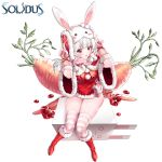 1girl :d animal_ears animal_hat arms_up blush boots bunny_hat capelet carrot character_request commentary copyright_name dress fingerless_gloves fingernails fur-trimmed_boots fur-trimmed_capelet fur-trimmed_dress fur-trimmed_gloves fur-trimmed_sleeves fur_trim gloves hat highres ia_(ias1010) knee_boots long_hair open_mouth pink_gloves pink_scarf pom_pom_(clothes) rabbit_ears red_capelet red_dress red_eyes red_footwear ruby_(stone) scarf short_sleeves silver_hair sitting skindentation smile solidus solo striped striped_legwear thigh-highs thighhighs_under_boots white_background wide_sleeves