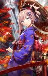 1girl autumn_leaves bangs blue_eyes blue_kimono blush breasts bridge closed_mouth commentary_request earrings fate/grand_order fate_(series) from_side gabiran hair_ornament holding holding_umbrella japanese_clothes jewelry kimono large_breasts lens_flare long_hair looking_at_viewer miyamoto_musashi_(fate/grand_order) obi oriental_umbrella outdoors pink_hair ponytail sash sidelocks smile solo umbrella water waterfall