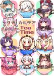 6+girls :d :o =_= ^_^ absurdres ahoge ainu_clothes anastasia_(fate/grand_order) artoria_pendragon_(all) bangs baseball_cap bikini_top black_bow black_legwear blonde_hair blue_eyes blue_hat blush bow brown_eyes brown_wings candy cape carnival_phantasm chibi circe_(fate/grand_order) closed_eyes closed_mouth commentary_request controller covered_mouth cup cute dragon_horns dress earrings elizabeth_bathory_(fate) elizabeth_bathory_(fate)_(all) emiya-san_chi_no_kyou_no_gohan ereshkigal_(fate/grand_order) eyebrows_visible_through_hair facial_mark fang fate/extra fate/grand_order fate/kaleid_liner_prisma_illya fate/stay_night fate_(series) feathered_wings food forehead_mark fur_collar game_controller hair_between_eyes hair_bow hair_over_one_eye hair_ribbon hair_through_headwear hair_tubes hairband hat head_wings headpiece heart high_ponytail highres holding holding_food horns huge_filesize ibaraki_douji_(fate/grand_order) ibaraki_douji_(swimsuit_lancer)_(fate) illyasviel_von_einzbern in_container in_cup infinity jako_(jakoo21) japanese_clothes jewelry katsushika_hokusai_(fate/grand_order) kimono lollipop long_hair looking_at_viewer minigirl multicolored_hair multiple_girls mysterious_heroine_xx_(foreigner) one_eye_closed oni oni_horns open_mouth parted_bangs parted_lips pink_bow pink_hair pink_hairband pointy_ears ponytail purple_dress purple_hair purple_kimono red_bow red_cape red_eyes red_ribbon ribbon scathach_(fate)_(all) scathach_skadi_(fate/grand_order) short_eyebrows shuten_douji_(fate/grand_order) shuten_douji_(halloween)_(fate) silver_hair sitonai skull sleeping sleeveless sleeveless_kimono smile snowflake_print sparkle star streaked_hair swirl_lollipop teacup thick_eyebrows thigh-highs tiara tohsaka_rin tomoe_gozen_(fate/grand_order) twintails two_side_up v-shaped_eyebrows violet_eyes white_bikini_top white_bow white_hair white_kimono wings