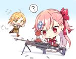 2girls :3 ? ahoge assault_rifle bipod blush brown_hair bullet commentary commentary_request flying_sweatdrops galil_(girls_frontline) girls_frontline gloves gun hair_ornament hexagram hitting imi_galil kneeling long_hair machine_gun multiple_girls negev_(girls_frontline) open_mouth pink_hair red_eyes ribbon rifle side_ponytail simple_background speech_bubble spoken_question_mark star_of_david suya2mori2 sweatdrop weapon yellow_eyes younger