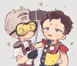 2boys animal_ears brown_hair cat_ears cat_helmet cellphone douchebag_(south_park) freckles gloves goggles green_eyes helmet multiple_boys nojiko_(natumag) open_mouth phone scott_malkinson self_shot selfie_stick short_hair smartphone smile south_park south_park:_the_fractured_but_whole tongue tongue_out