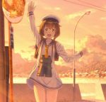 1girl binoculars brown_eyes brown_hair commentary_request cowboy_shot dress gloves hat kantai_collection key_kun lamppost looking_at_viewer mirror neckerchief open_mouth sailor_dress sailor_hat scenery short_hair sign smile solo sunset upper_teeth waving white_gloves white_hat yellow_neckwear yukikaze_(kantai_collection)