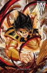 1boy artist_name aura black_sclera ceasar_ian_muyuela dragon_ball dragon_ball_super highres monkey_tail muscle no_pupils rock saiyan signature son_gokuu spiky_hair tagme tail wristband yellow_eyes