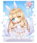 1girl :o animal_ears bangs bare_shoulders black_choker blonde_hair blue_eyes blue_flower blue_sky blush breasts chibi choker clouds cloudy_sky commentary_request commission day dress elbow_gloves eyebrows_visible_through_hair feathered_wings flower gloves heterochromia leaning_to_the_side long_hair medium_breasts open_mouth original petals pink_flower pong_(vndn124) rabbit_ears shadow sky solo standing strapless strapless_dress tile_floor tiles upper_teeth very_long_hair white_dress white_footwear white_gloves white_wings wings yellow_eyes