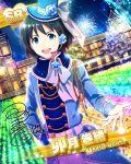blue_eyes character_name green_hair hair idolmaster idolmaster_side-m jacket makio_uzuki night short_hair smile