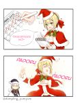 2girls 2koma :d =_= artoria_pendragon_(all) bangs bell black_capelet black_dress black_hat blonde_hair blush bow bowtie braid breasts calendar_(object) capelet chibi cleavage closed_mouth comic dress fate/grand_order fate_(series) fur-trimmed_capelet fur_trim green_eyes green_neckwear hair_ribbon hand_on_own_chest hand_up hat heart highres holding holding_pen holding_sack jitome long_sleeves looking_at_another medium_breasts motion_lines multiple_girls nero_claudius_(fate) nero_claudius_(fate)_(all) notebook open_mouth padoru pen red_capelet red_dress red_hat red_ribbon ribbon saber_alter sack santa_alter santa_costume santa_hat short_hair sidelocks smile sparkle speech_bubble v-shaped_eyebrows writing yellow_eyes yumyum