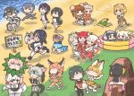 6+girls :3 aardwolf_(kemono_friends) aardwolf_ears aardwolf_print aardwolf_tail alpaca_ears alpaca_suri_(kemono_friends) alpaca_tail animal_ears anteater_ears anteater_tail apron bactrian_camel_(kemono_friends) ball_pit bangs bare_shoulders bird_tail bird_wings black-tailed_prairie_dog_(kemono_friends) black_hair blindfold blonde_hair blush bow bowtie camel_ears caracal_(kemono_friends) caracal_ears caracal_tail carrying center_frills collared_shirt commentary_request common_raccoon_(kemono_friends) crossed_arms curry curry_rice dress dromedary_(kemono_friends) elbow_gloves emperor_penguin_(kemono_friends) eyebrows_visible_through_hair fang fennec_(kemono_friends) fingerless_gloves food fox_ears frilled_dress frilled_skirt frills fur_collar gentoo_penguin_(kemono_friends) gloves green_eyes grey_hair hair_bow hair_over_one_eye hands_on_own_head head_wings high-waist_skirt highlights highres hippopotamus_(kemono_friends) hippopotamus_ears hood hood_down hoodie humboldt_penguin_(kemono_friends) jaguar_(kemono_friends) jaguar_ears jaguar_print jaguar_tail japanese_crested_ibis_(kemono_friends) kaban_(kemono_friends) kemono_friends kemono_friends_pavilion kotobuki_(tiny_life) leotard light_brown_hair long_hair long_sleeves lucky_beast_(kemono_friends) multicolored_hair multiple_girls narwhal_(kemono_friends) narwhal_tail neckerchief necktie no_hat no_headwear nose_blush one-piece_swimsuit otter_ears otter_tail pantyhose penguin_tail piggyback pink_hair plaid plaid_skirt playground_equipment_(kemono_friends_pavilion) pleated_skirt ponytail prairie_dog_tail princess_carry puffy_short_sleeves puffy_sleeves raccoon_ears redhead rice rockhopper_penguin_(kemono_friends) royal_penguin_(kemono_friends) sailor_dress sand scarlet_ibis_(kemono_friends) serval_(kemono_friends) serval_ears serval_print serval_tail shirt short_hair short_sleeves silky_anteater_(kemono_friends) sitting skirt sleeveless small-clawed_otter_(kemono_friends) smile southern_tamandua_(kemono_friends) standin