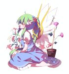 1girl ahoge bangs barefoot blue_skirt blue_vest blush closed_eyes closed_mouth daiyousei fairy_wings flower flower_in_mouth flower_pot from_side full_body gla green_hair hair_between_eyes hair_flower hair_ornament hair_ribbon highres lily_(flower) long_hair morning_glory ponytail profile puffy_short_sleeves puffy_sleeves ribbon shirt short_sleeves sidelocks simple_background sitting skirt skirt_set solo touhou transparent_wings very_long_hair vest white_background white_shirt wings yellow_ribbon