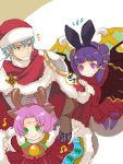 1boy 2girls animal_ears antlers aqua_eyes aqua_hair bat_ears bell bow cape closed_mouth dragon_wings dress ephraim fa facial_mark fake_animal_ears fire_emblem fire_emblem:_fuuin_no_tsurugi fire_emblem:_seima_no_kouseki fire_emblem_heroes forehead_mark fur_trim green_eyes halloween_costume hat long_sleeves mamkute multi-tied_hair multiple_girls myrrh nintendo purple_hair red_eyes red_hat reindeer_antlers renkonmatsuri santa_costume santa_hat short_hair simple_background smile twintails wings