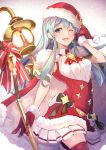 1girl aqua_eyes aqua_hair bow cape dress earrings eirika fire_emblem fire_emblem:_seima_no_kouseki fire_emblem_heroes fur_trim gloves hat highres holding holding_staff jewelry long_hair nakabayashi_zun nintendo one_eye_closed open_mouth pom_pom_(clothes) red_gloves red_hat santa_costume santa_hat sleeveless sleeveless_dress solo staff