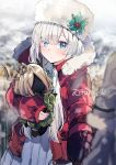 1girl anastasia_(fate/grand_order) blue_eyes blurry choker christmas coat depth_of_field doll down_jacket fate/grand_order fate_(series) fur-trimmed_jacket fur_hat fur_trim hair_over_one_eye hat holly ikeuchi_tanuma jacket long_bangs long_hair shvibzik_snow silver_hair snow twitter_handle