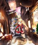 1girl :d absurdres aerial_fireworks ahoge bangs bauble bench black_jacket black_skirt blonde_hair blouse blue_eyes blush boots brown_footwear building child christmas christmas_tree commentary crowd dutch_angle exitb eyebrows_visible_through_hair fireworks hair_ornament hairclip highres horns jacket kneehighs leg_up long_hair long_sleeves looking_at_viewer mailbox_(incoming_mail) miniskirt open_clothes open_jacket open_mouth original outdoors outstretched_arms park_bench pavement pink_blouse plant pleated_skirt potted_plant red_scarf ribbon road scarf shadow sidelocks sign skirt smile snow_globe solo_focus standing standing_on_one_leg star street striped striped_legwear tareme window winter winter_clothes x_hair_ornament