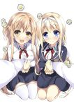 2girls alice_schuberg arms asuna_(sao) black_skirt blazer blonde_hair blue_eyes blue_jacket braid brown_eyes brown_hair flower french_braid hair_intakes hairband half_updo jacket long_hair looking_at_viewer multiple_girls open_mouth pov red_ribbon ribbon school_uniform seiza shirt simple_background sitting skirt smile sword_art_online thigh-highs very_long_hair watsuki_ayamo white_background white_legwear white_shirt