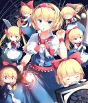 :d :o absurdres alice_margatroid alternate_hairstyle apron bangs black_cape blonde_hair blue_eyes blue_skirt blunt_bangs bob_cut bow bowtie cape capelet center_frills commentary_request d: drooling eyebrows_visible_through_hair fireball glasses gun hair_bow hair_over_one_eye hat highres kanzakietc lance long_hair long_skirt looking_at_viewer low_twintails open_mouth polearm ponytail puffy_short_sleeves puffy_sleeves red_bow red_neckwear rifle shanghai_doll shield short_hair short_sleeves skirt skirt_hold sleeping smile staff sweatdrop sword touhou twintails v-shaped_eyebrows waist_apron weapon white_capelet witch_hat wrist_cuffs
